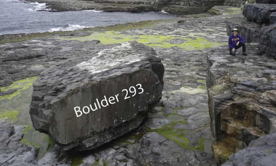 A 620-tonne boulder at Inishmore, on the Aran Islands, relocated by several feet during the storms of 2013-14.