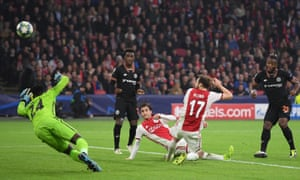 Chelsea's Michy Batshuayi (right) turns home the only goal of the game at Ajax.