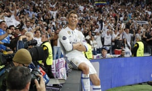 Real Madrid CF v Club Atletico de Madrid - UEFA Champions League Semi Final: First Leg<br>MADRID, SPAIN - MAY 02:  Cristiano Ronaldo of Real Madrid celebrates his team's second goal during the UEFA Champions League Semi Final first leg match between Real Madrid CF and Club Atletico de Madrid at Estadio Santiago Bernabeu on May 2, 2017 in Madrid, Spain.  (Photo by Angel Martinez/Real Madrid via Getty Images)