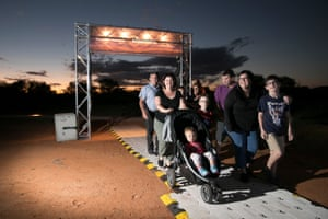 Families arrive at Parrtjima in Alice Springs Desert Park. The name 'Parrtijma' means enlightenment and is derived from the word 'Parrt', which means 'no understanding'.