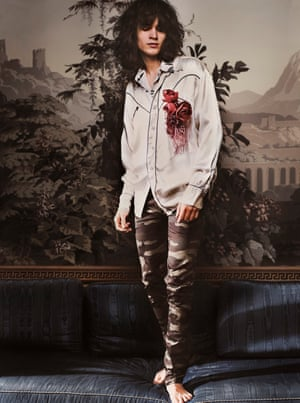 Western shirt, £65, by Rokit. Leaf-print shirt (underneath), £90, by Diesel. Trousers, £490, by Dior Homme. Silk corsage, from £68, by Basia Zarzycka.