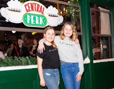 Friends Phoebe Jeffrey and Charlotte Undrell at the event in Shoreditch, London.