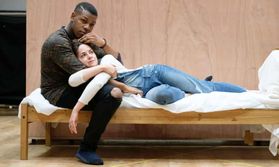 John Boyega (Woyzeck) and Sarah Greene (Marie) in rehearsals for the Old Vic production.