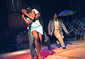 The Overwhelming at the Cottesloe in 2006. Left to right: Adura Onashile (Woman In Club), Babou Ceesay (Gerard) and Lucian Msamati (Policeman).