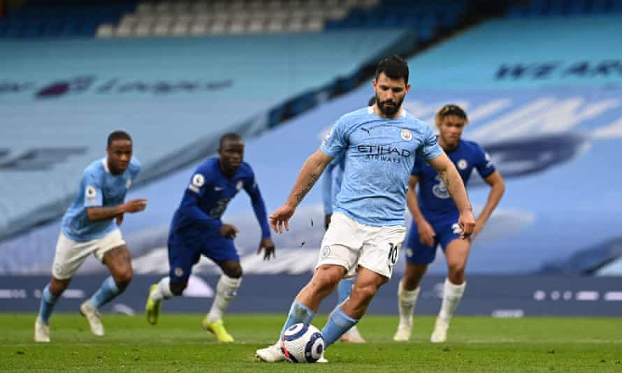 Sergio Agüero attempts a Panenka against Chelsea