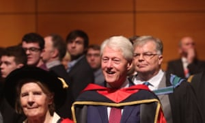 Bill Clinton receiving an honorary doctorate from Dublin City University.