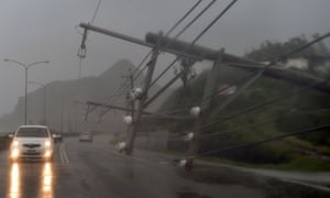 Collapsed power lines in Taiwan, after super-typhoon Meranti skirted the island's southern tip on 14 September.