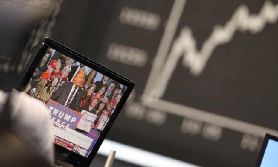 The German DAX pictured at the stock exchange in Frankfurt on the day Trump was elected.