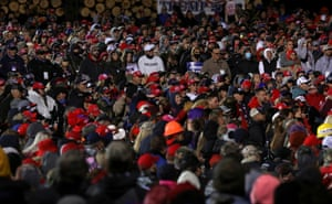 Supporters of President Trump attend a campaign rally at Duluth International Airport in Duluth, Minnesota