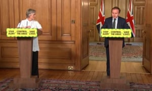 Prof Dame Angela McLean (left) and George Eustice at the press conference.