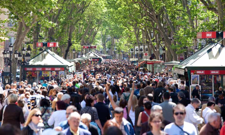 La Rambla in central Barcelona. Last year there were roughly 20 times more tourists than residents in the city.