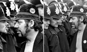 A miner faces a line of police at the Orgreave coking plant during the miners' strike, June 1984 by Don McPhee, left, and Martin Jenkinson