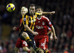 Ian Ashbee playing for Hull against Liverpool at Anfield on in 2008.