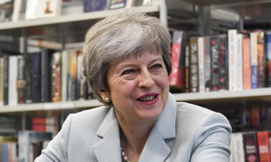 Theresa May pictured while visiting a London school in February 2018.