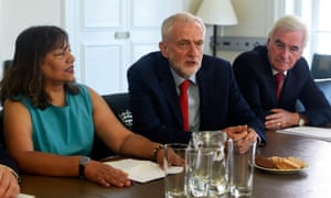 Jeremy Corbyn with Labour MPs Valerie Vaz and John McDonnell.