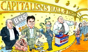 Cartoon of Sir Philip Green, Dominic Chappell and Mike Ashley in 'Capitalism's Hall of Fame'