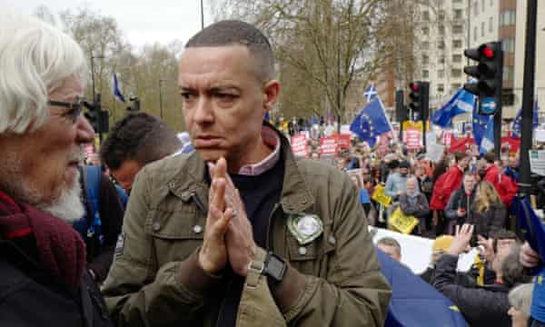 Clive Lewis MP, right, on the pro-EU Put It to the People march in London.