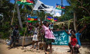 Supporters of Kanaky independence on the island of Ouen, New Caledonia.