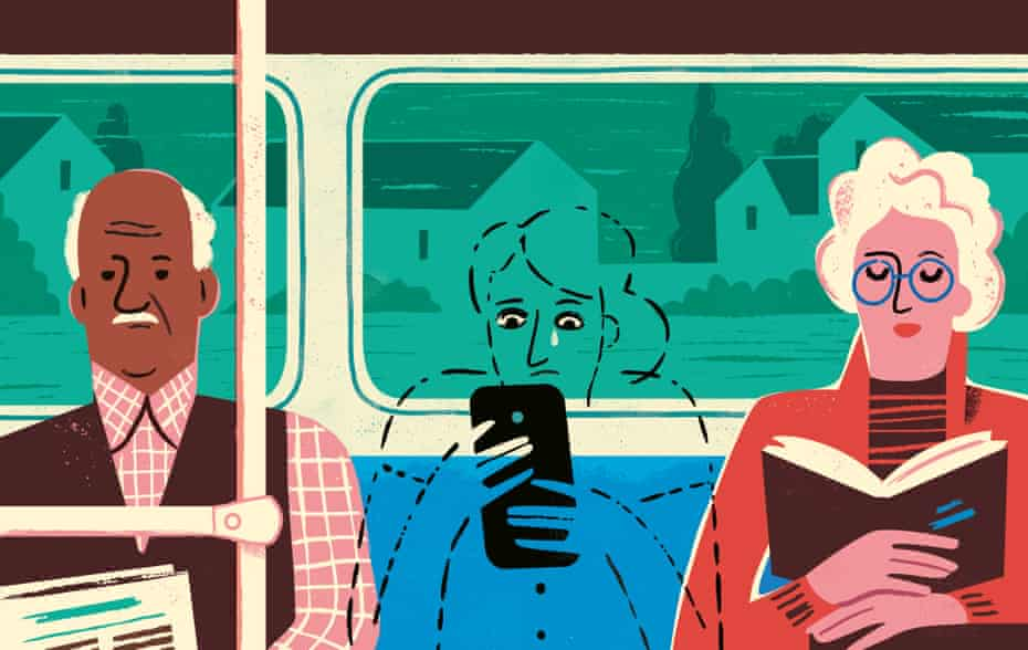 Illustration of people sitting on a train