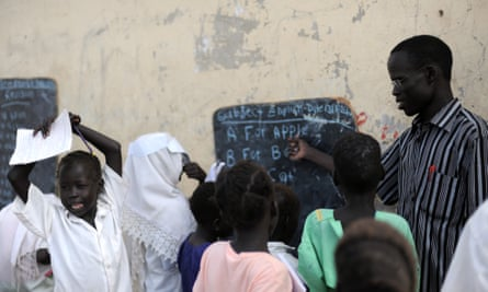 An English class at a government school in Bentiu, South Sudan