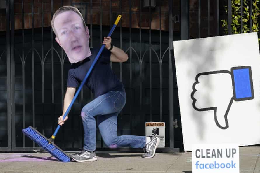 People demonstrate against Facebook disinformation in November.