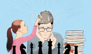 illustration of adult man being taught chess by young girl