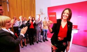 Kezia Dugdale launches the party's general election manifesto in Edinburgh.