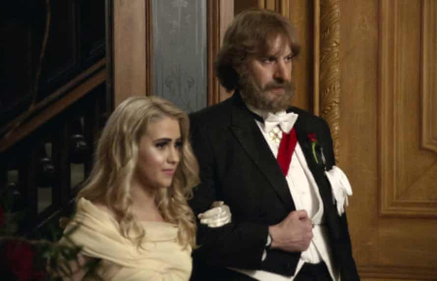 Maria Bakalova and Sacha Baron Cohen in a scene from Borat Subsequent Moviefilm.