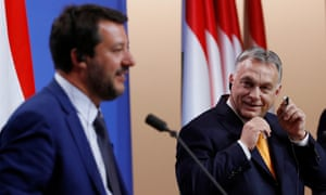 Matteo Salvini in Hungary with the country's nationalist prime minister, Viktor Orbán