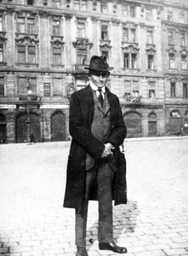 Franz Kafka on Prague's Old Town Square around 1920.