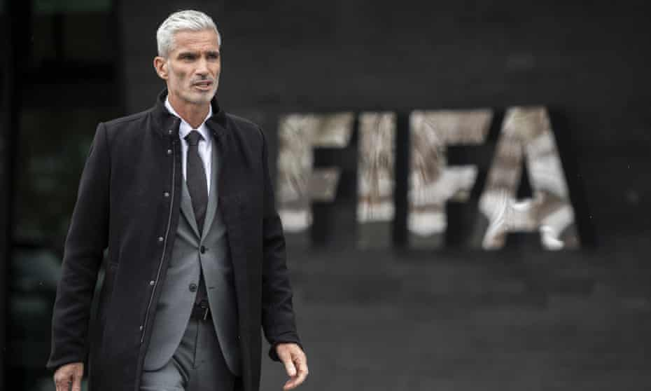 Craig Foster out the front of the Fifa headquarters in Switzerland