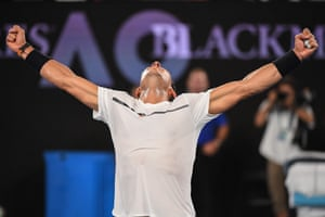 Nadal celebrates his victory.