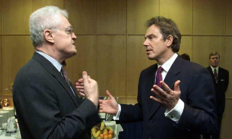 French prime minister Lionel Jospin and Tony Blair at the EU summit in Helsinki, December 1999.