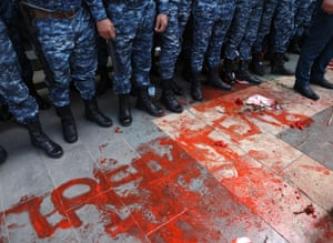 Yerevan, Armenia. Law enforcement officers line up during a rally by protesters calling for the resignation of the prime minister, Nikol Pashinyan