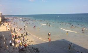 Relaxed crowds enjoy Mogadishu's Lido.