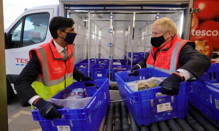 Boris Johnson and Rishi Sunak visit a Tesco.com distribution centre in Erith, south-east London.