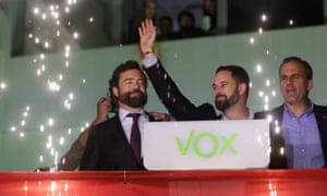 Santiago Abascal, the Vox party leader, waves to supporters in Madrid