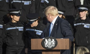 One student officer needed to sit down as Johnson gave the speech, part of which was devoted to his plans to recruit 20,000 new police officers.