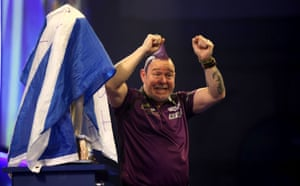 Peter Wright reacts after winning the final.