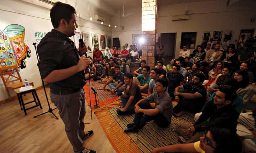 Shehzad Ghias Shaikh, a standup comedian, performs at T2F in Karachi.