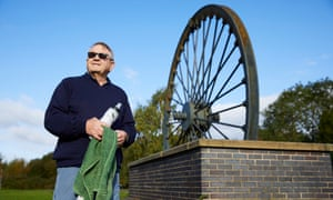 Bob Davis next to the old pit wheel at Denaby Main in the Don Valley constituency of South Yorkshire.