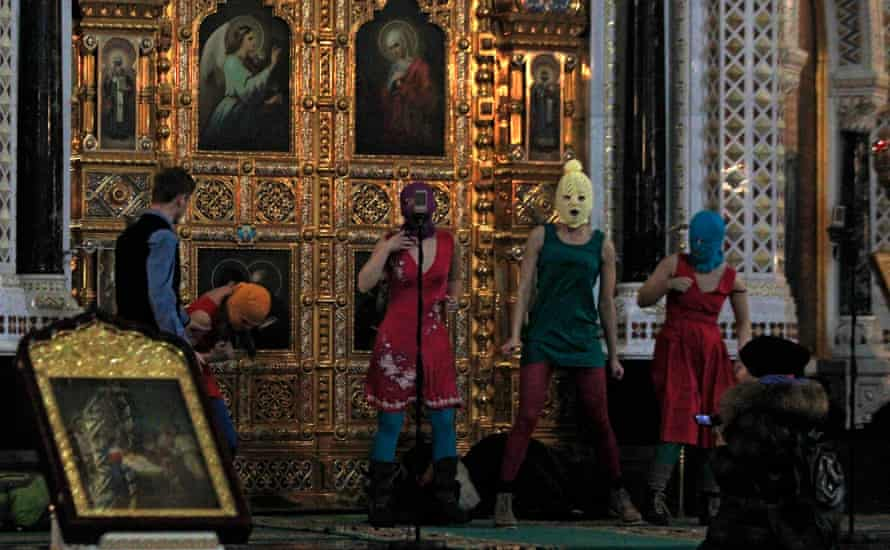 Pussy Riot perform in Moscow's Christ the Saviour cathedral to protest Putin's return to the Kremlin.