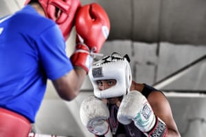 Mexican boxer Miguel Ramirez (right) during a training session