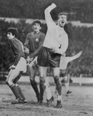 Jack Charlton Celebrates After Scoring For England against Romania 1968/69 .