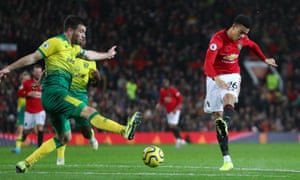 Mason Greenwood of Manchester United scores his team's fourth goal.