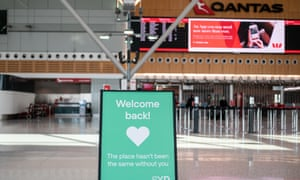 A sign welcoming travellers back to Sydney Airport in June