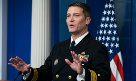 Dr Ronny Jackson speaks about the physical exam at a White House briefing.