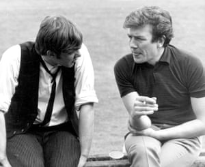 My hero … Malcolm McDowell talks to Albert Finney on the set of If... on which he was a producer.