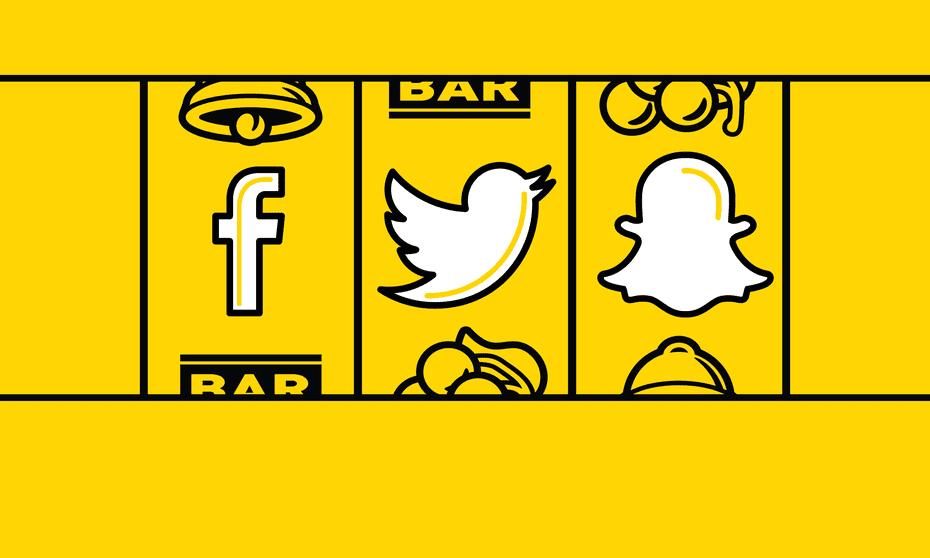 gambling slot machine with social media logos