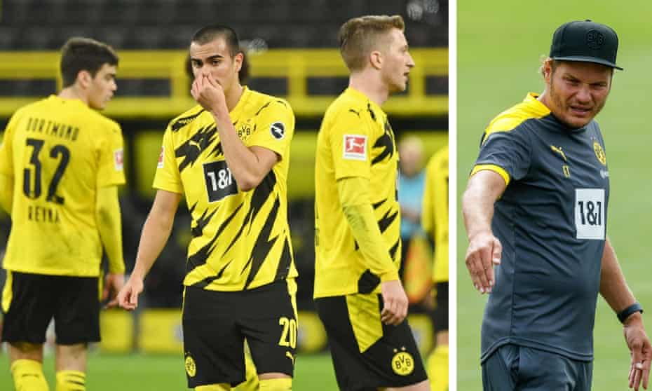 Dortmund's players look dejected during the 5-1 home defeat by Stuttgart which prompted the club to install Edin Terzic (right) as caretaker manager until the season's end.